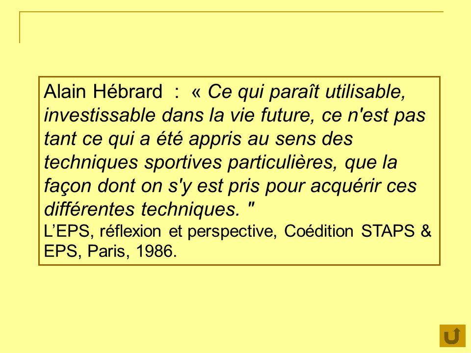 Alain Hébrard : « Ce qui paraît utilisable, investissable dans la vie future, ce n est pas tant ce qui a été appris au sens des techniques sportives particulières, que la façon dont on s y est pris pour acquérir ces différentes techniques.