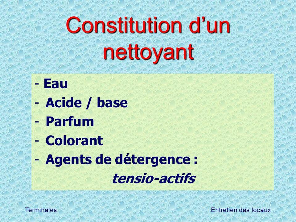 Constitution d'un nettoyant