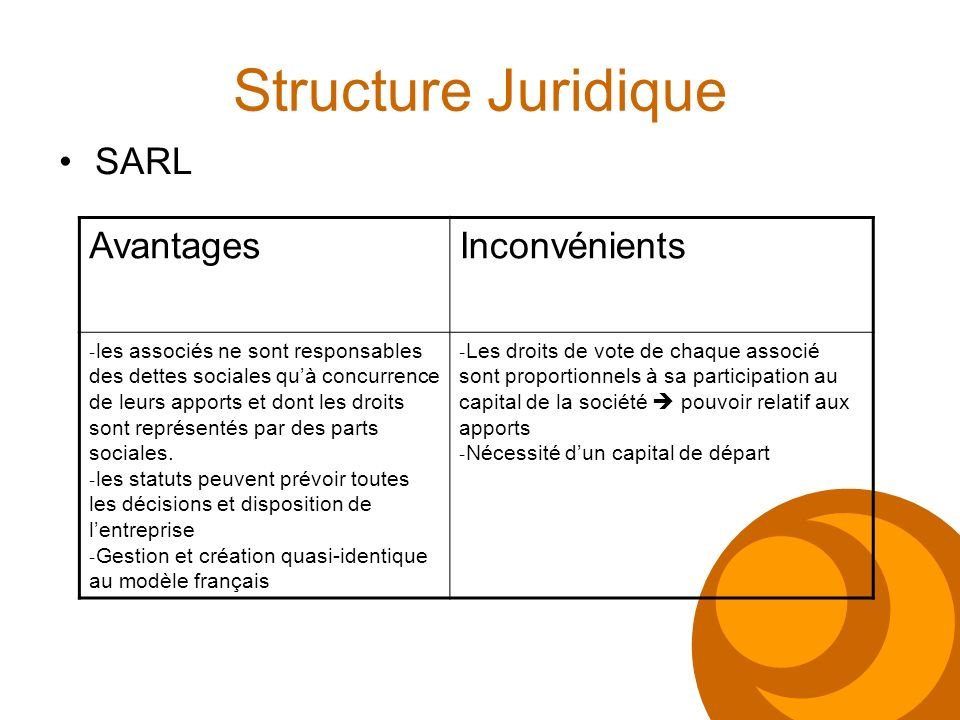 Structure Juridique SARL Avantages Inconvénients