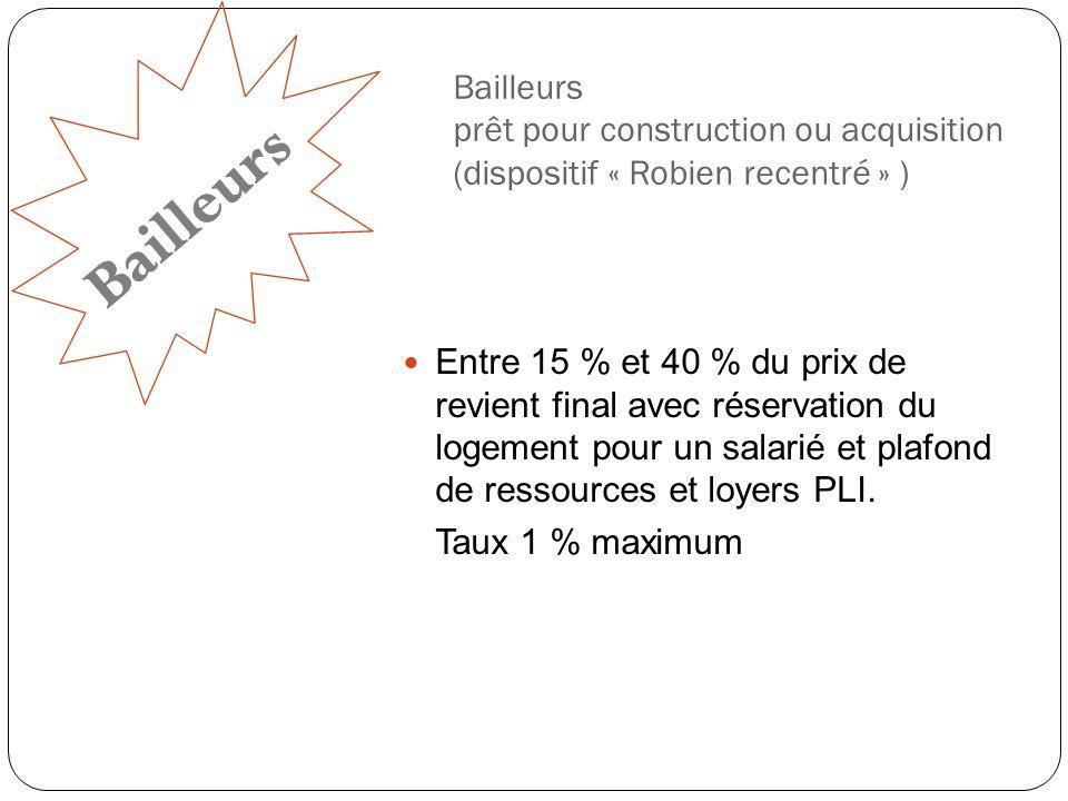 Bailleurs prêt pour construction ou acquisition (dispositif « Robien recentré » )