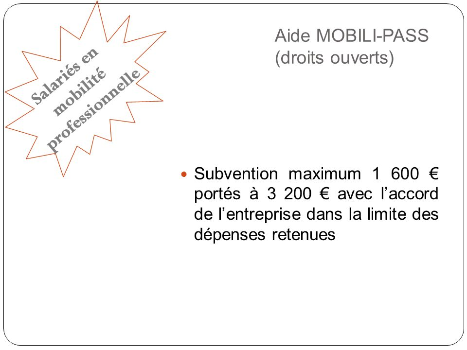 Aide MOBILI-PASS (droits ouverts)