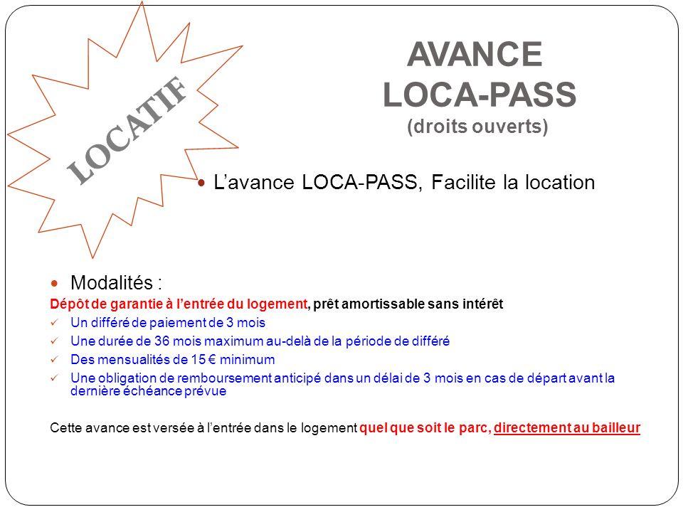 AVANCE LOCA-PASS (droits ouverts)