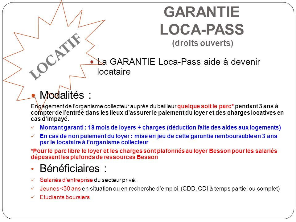 GARANTIE LOCA-PASS (droits ouverts)
