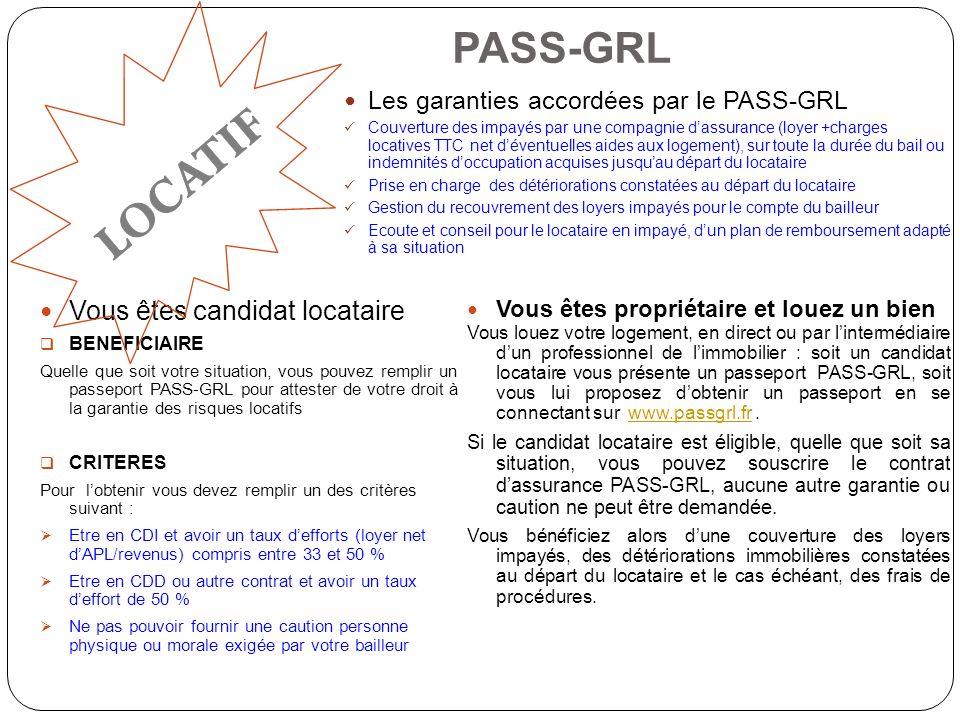 LOCATIF PASS-GRL Vous êtes candidat locataire