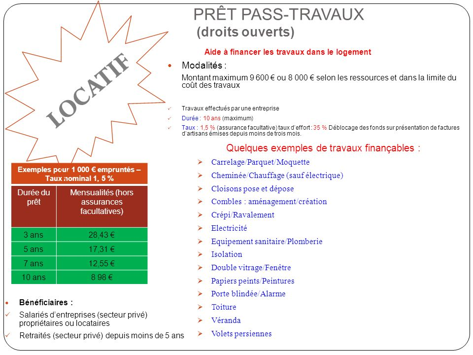 PRÊT PASS-TRAVAUX (droits ouverts)