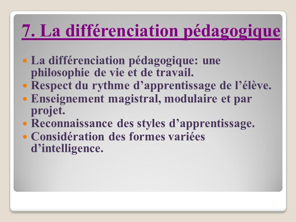 7. La différenciation pédagogique