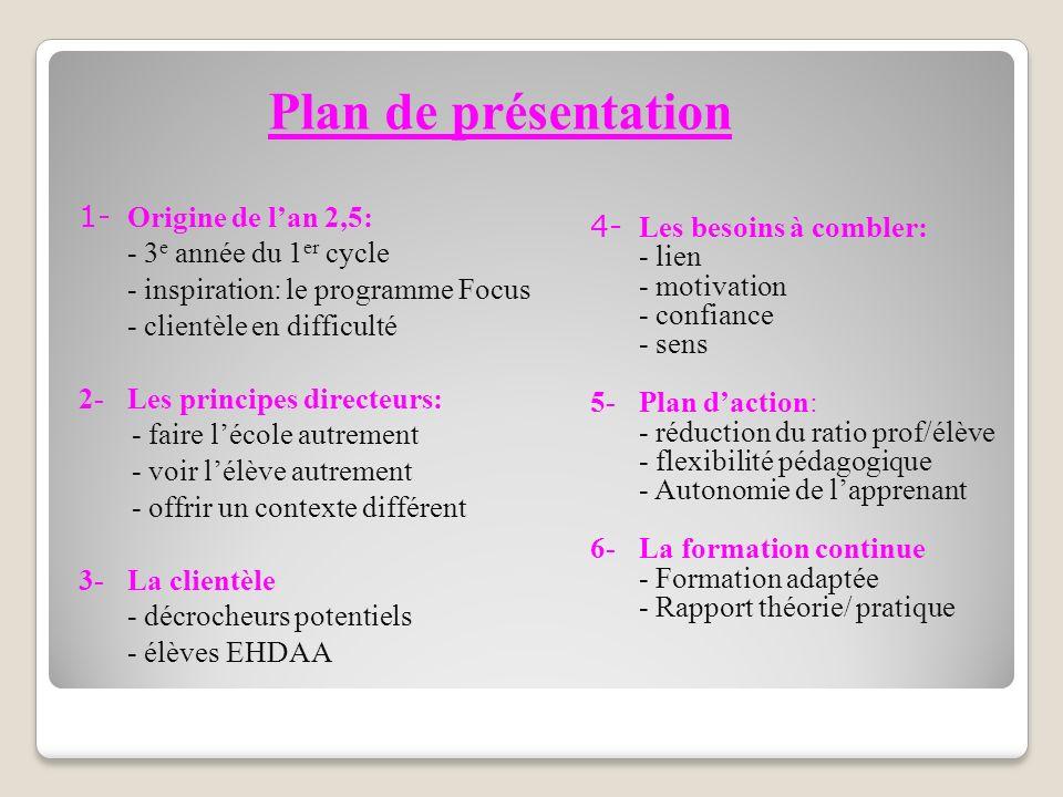Plan de présentation 1- Origine de l'an 2,5: - 3e année du 1er cycle