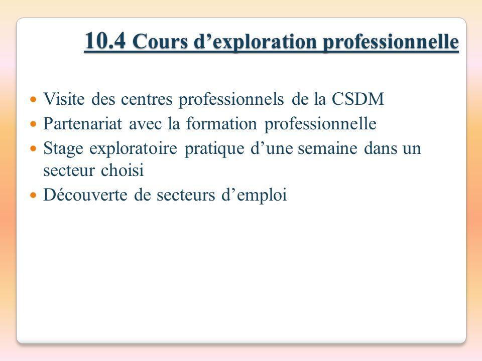 10.4 Cours d'exploration professionnelle
