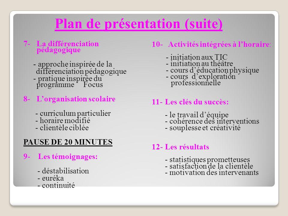 Plan de présentation (suite)