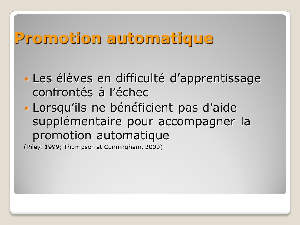 Promotion automatique