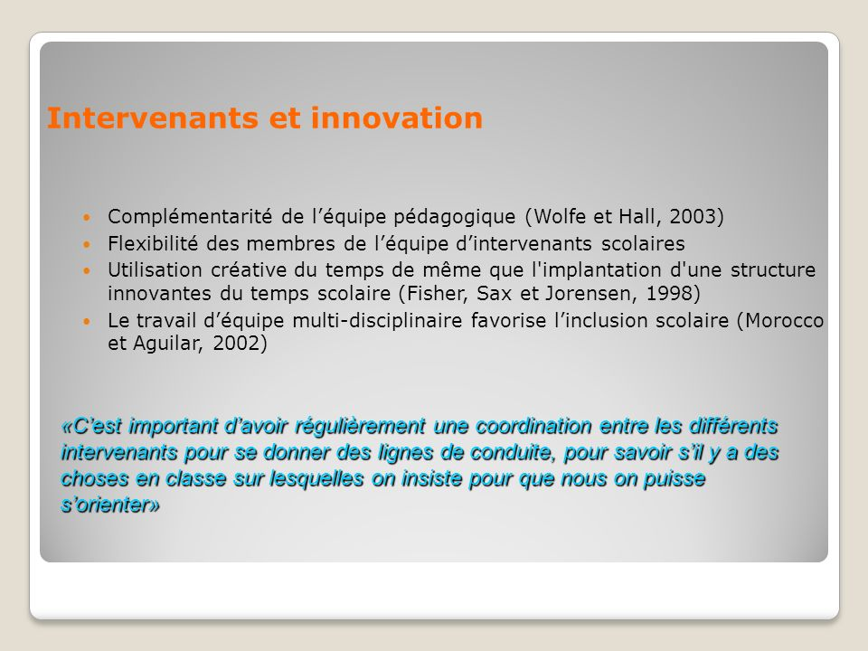 Intervenants et innovation