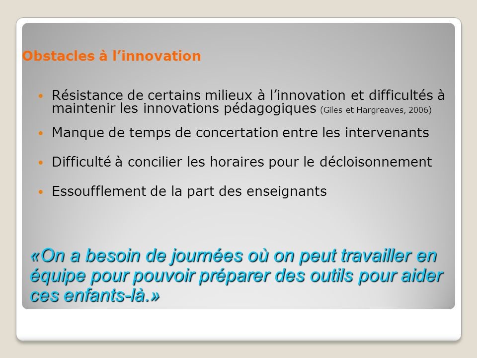 Obstacles à l'innovation