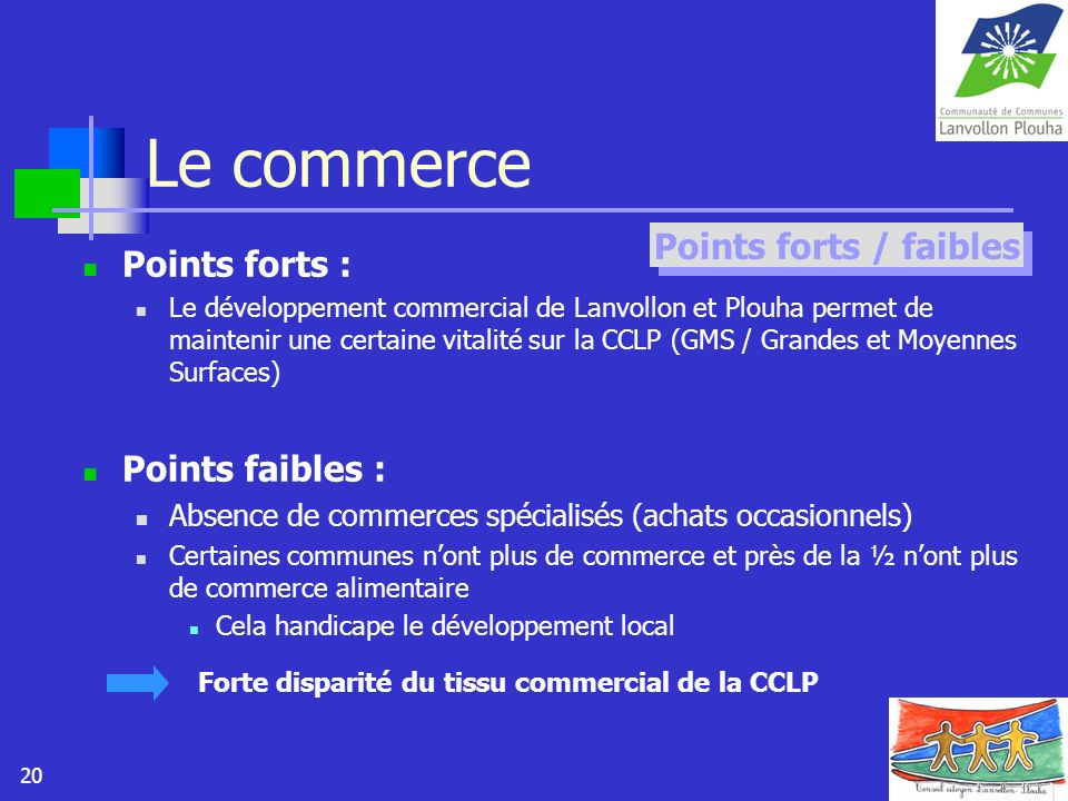 Le commerce Points forts / faibles Points forts : Points faibles :