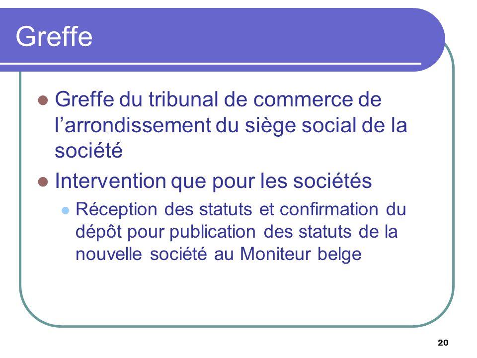 Greffe Greffe du tribunal de commerce de l'arrondissement du siège social de la société. Intervention que pour les sociétés.