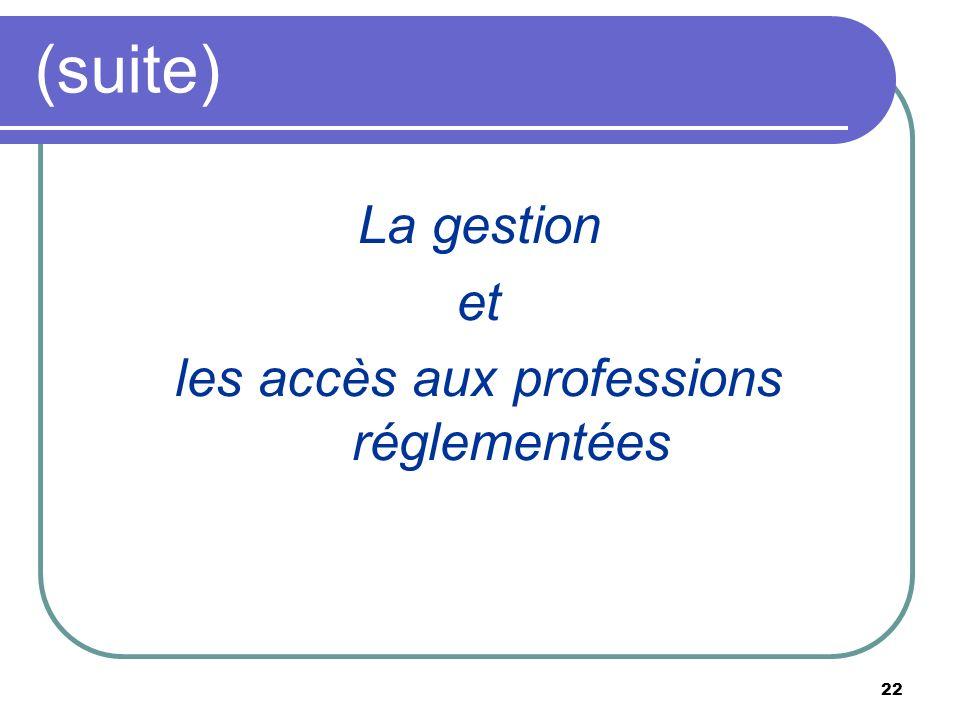 les accès aux professions réglementées