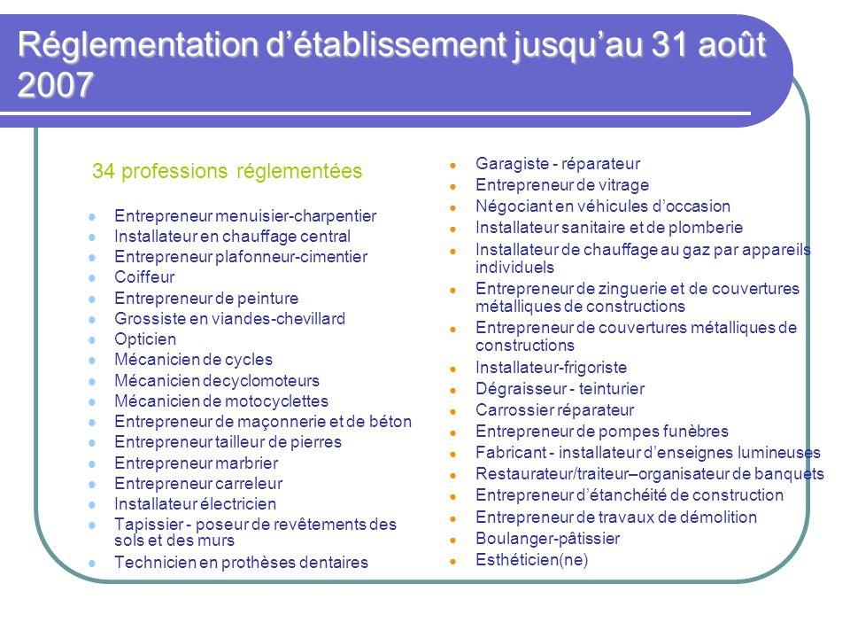 Réglementation d'établissement jusqu'au 31 août 2007