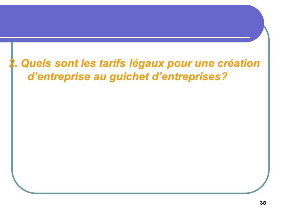 2. Quels sont les tarifs légaux pour une création d'entreprise au guichet d'entreprises