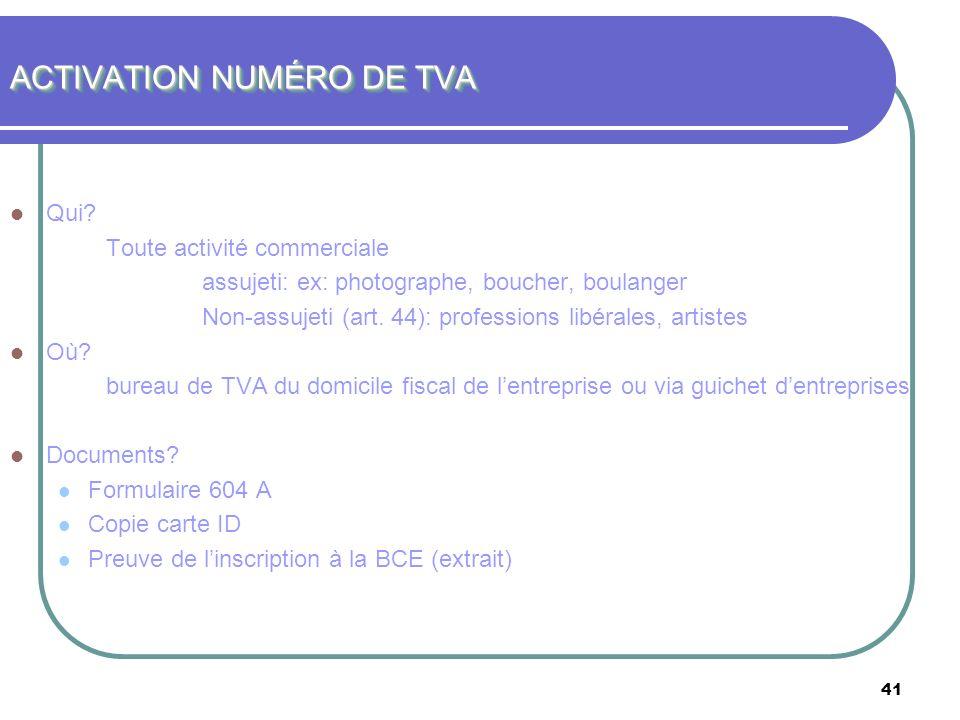 ACTIVATION NUMÉRO DE TVA