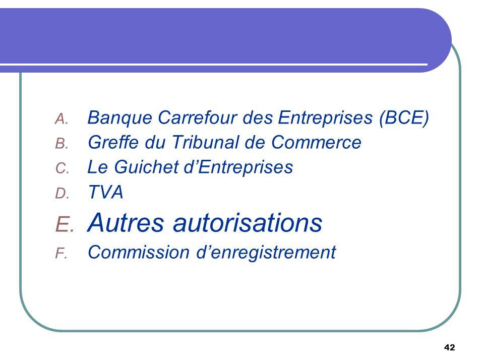 Autres autorisations Banque Carrefour des Entreprises (BCE)