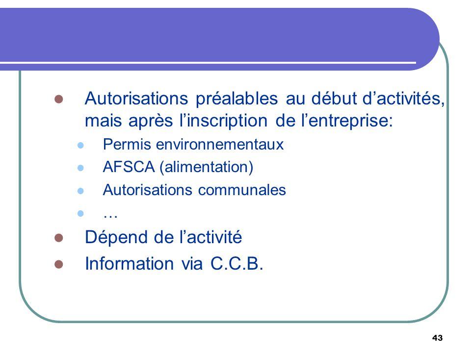 Autorisations préalables au début d'activités, mais après l'inscription de l'entreprise: