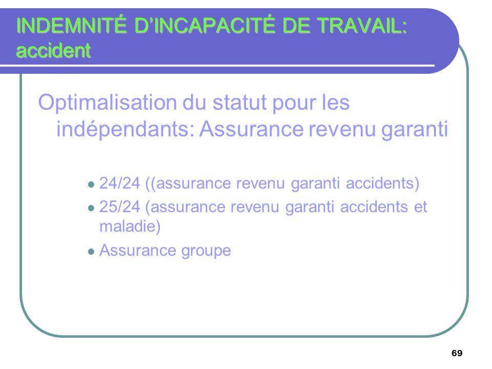 INDEMNITÉ D'INCAPACITÉ DE TRAVAIL: accident