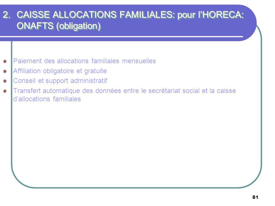 CAISSE ALLOCATIONS FAMILIALES: pour l'HORECA: ONAFTS (obligation)