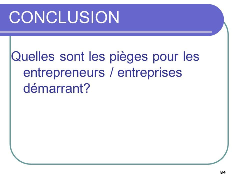 CONCLUSION Quelles sont les pièges pour les entrepreneurs / entreprises démarrant