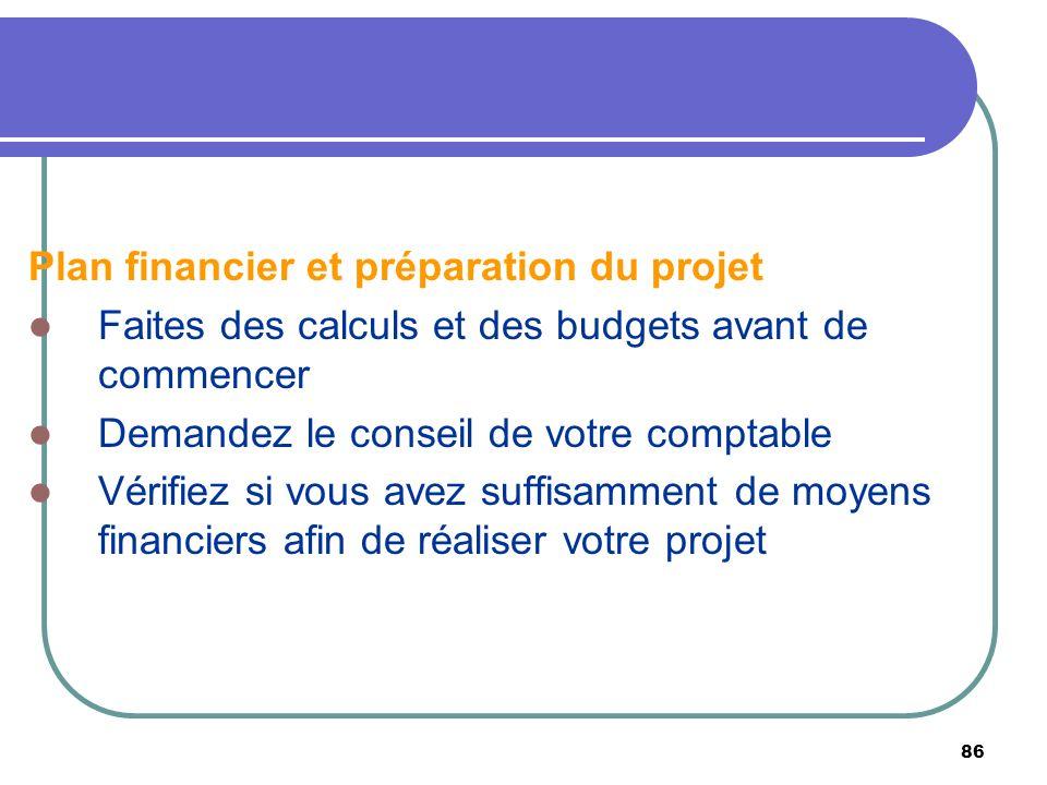 Plan financier et préparation du projet
