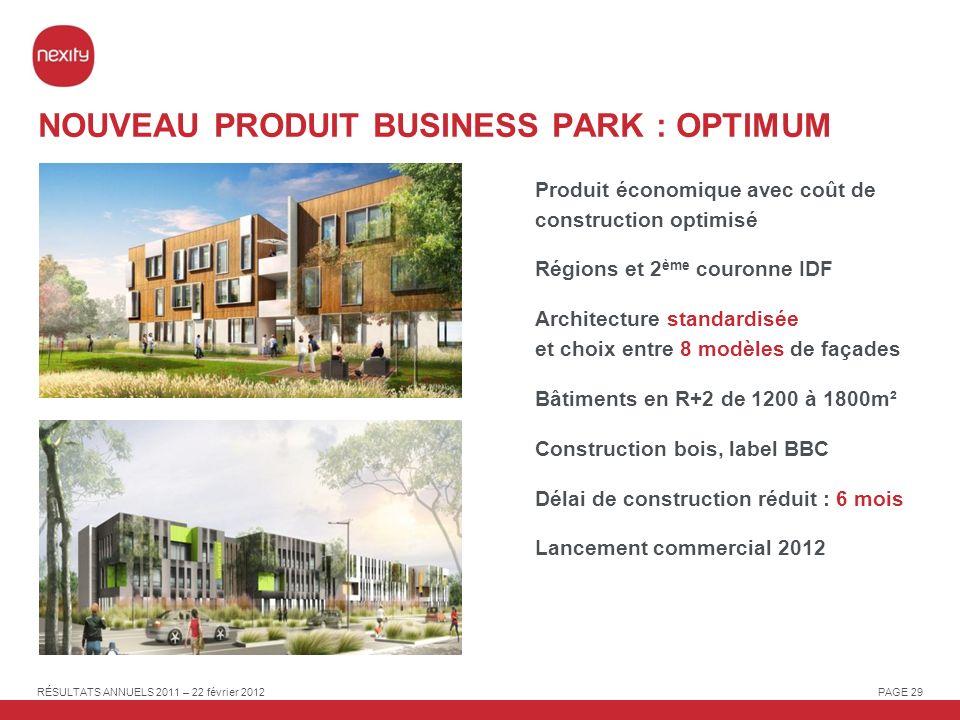 NOUVEAU PRODUIT BUSINESS PARK : OPTIMUM