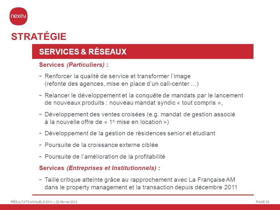 STRATÉGIE SERVICES & RÉSEAUX Services (Particuliers) :