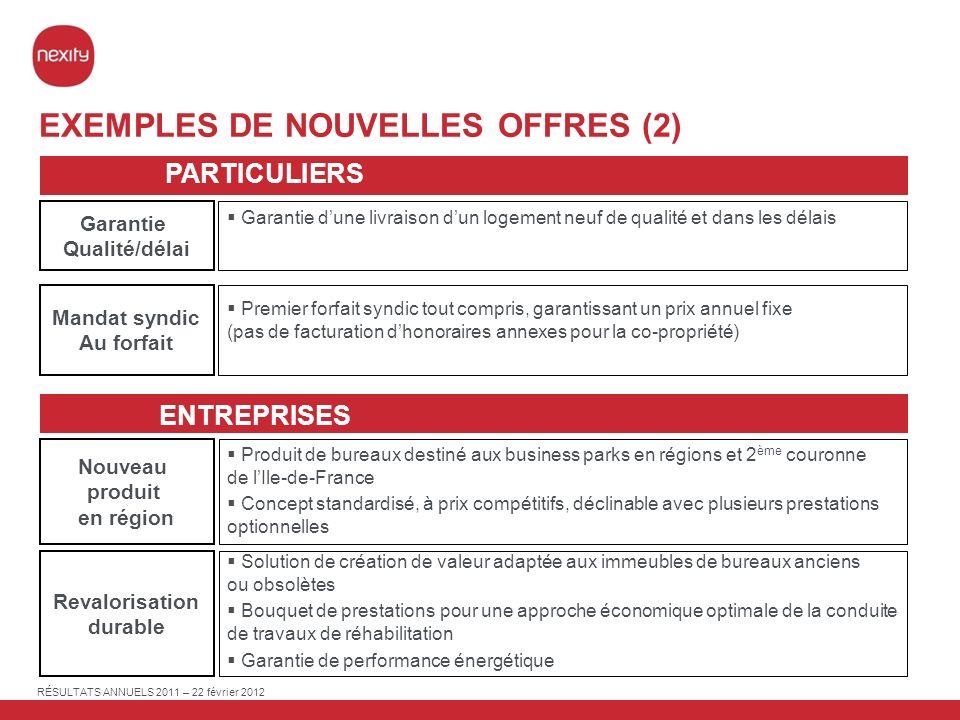 EXEMPLES DE NOUVELLES OFFRES (2)