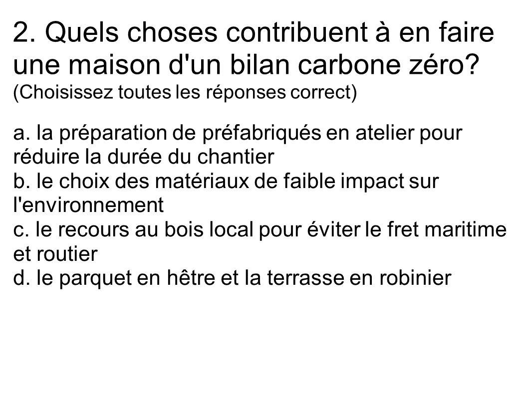 2. Quels choses contribuent à en faire une maison d un bilan carbone zéro (Choisissez toutes les réponses correct)
