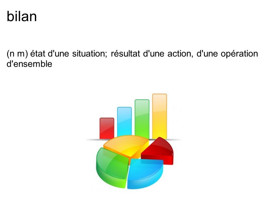 bilan (n m) état d une situation; résultat d une action, d une opération d ensemble