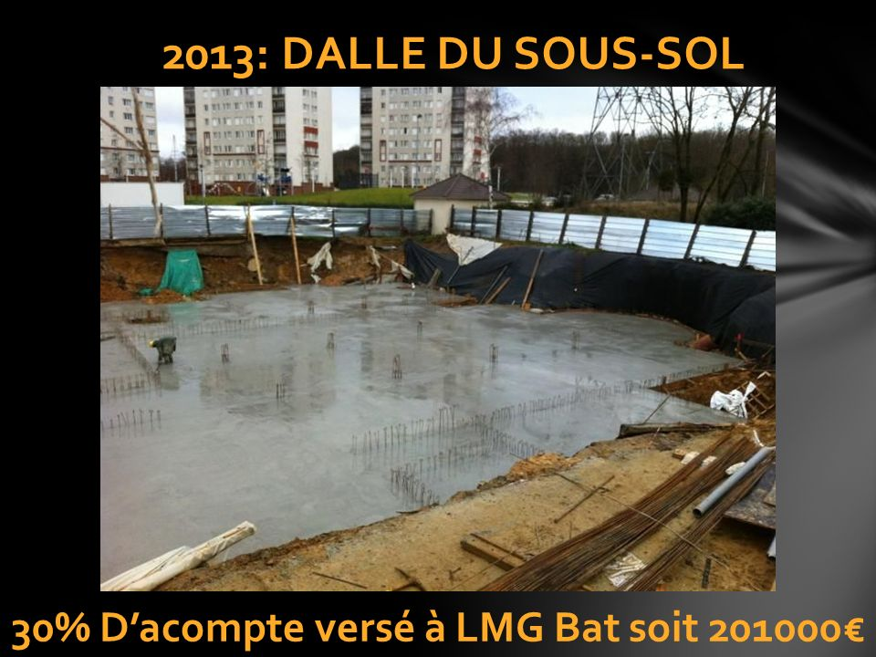 30% D'acompte versé à LMG Bat soit 201000€