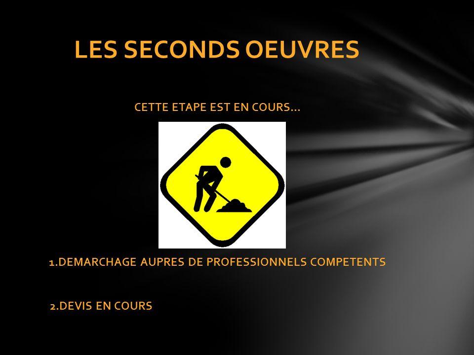 LES SECONDS OEUVRES CETTE ETAPE EST EN COURS… 1.DEMARCHAGE AUPRES DE PROFESSIONNELS COMPETENTS 2.DEVIS EN COURS