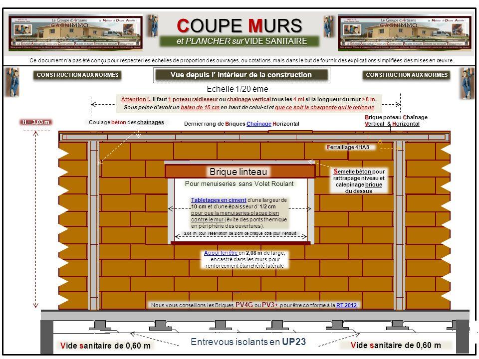 COUPE MURS Brique linteau Entrevous isolants en UP23
