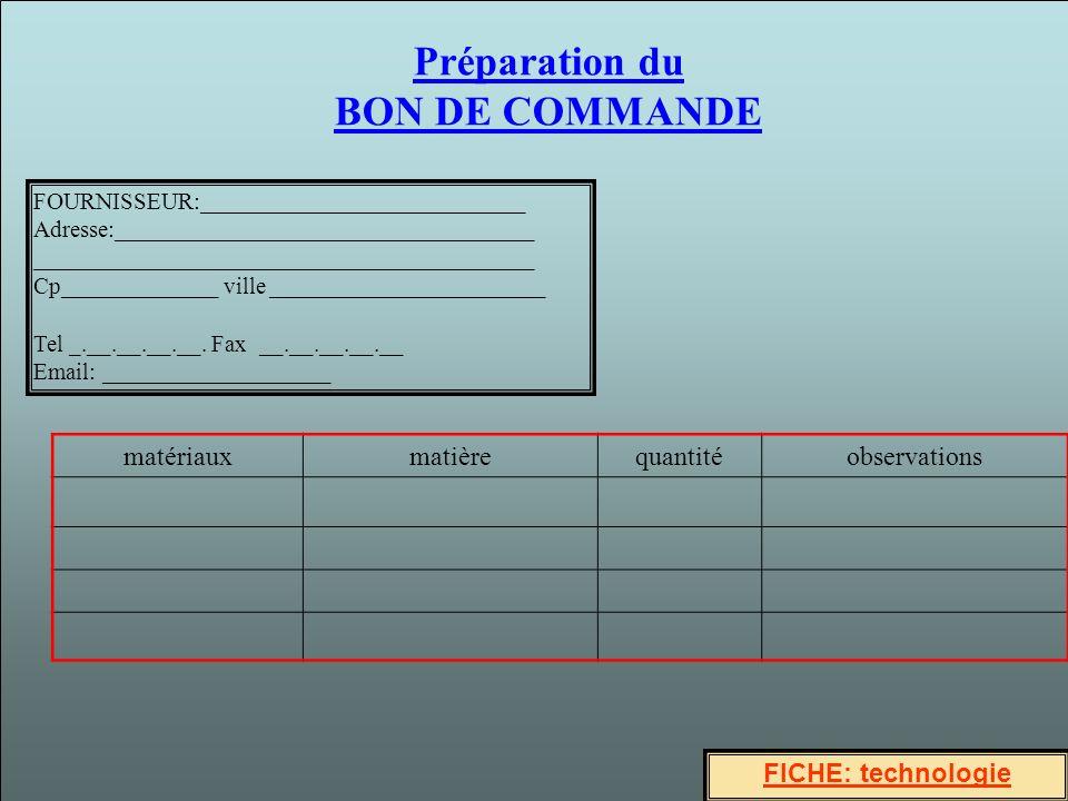 Préparation du BON DE COMMANDE