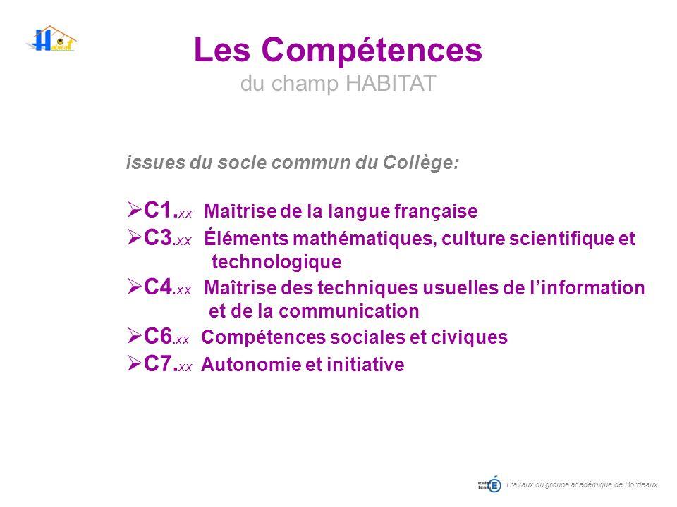 Les Compétences du champ HABITAT C1.xx Maîtrise de la langue française