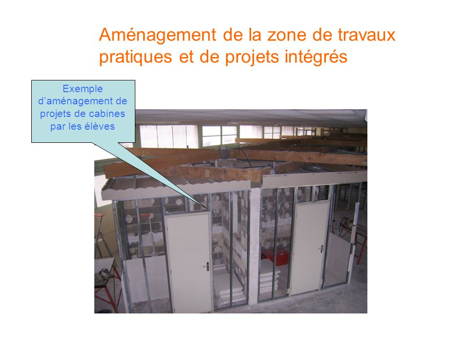 Exemple d'aménagement de projets de cabines par les élèves
