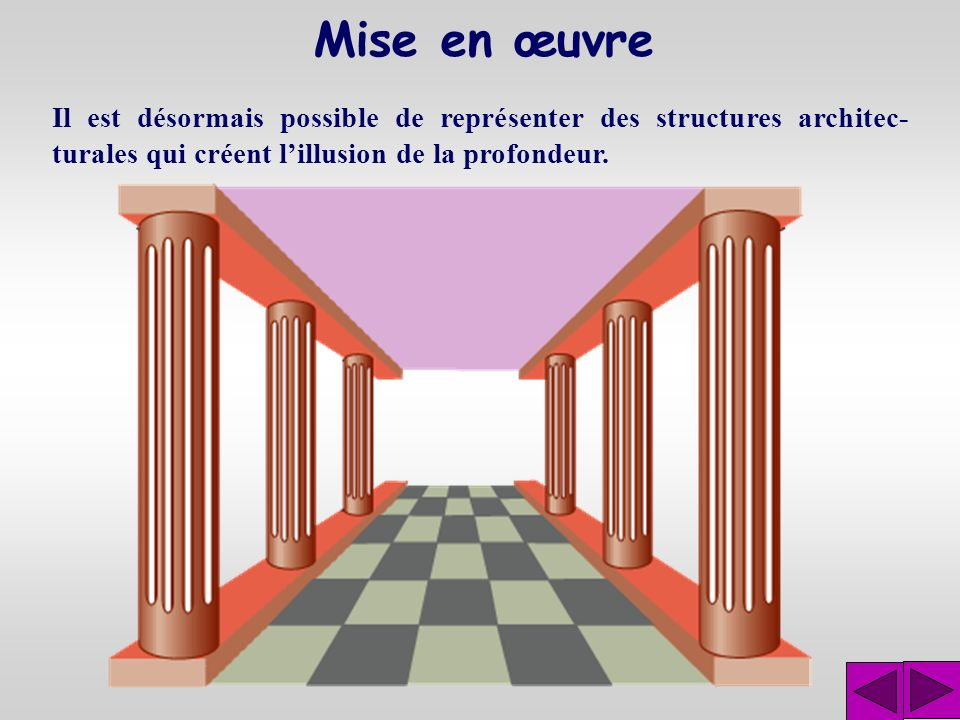 Mise en œuvre Il est désormais possible de représenter des structures architec-turales qui créent l'illusion de la profondeur.