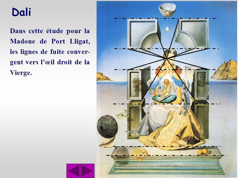 Dali Dans cette étude pour la Madone de Port Lligat, les lignes de fuite conver-gent vers l'œil droit de la Vierge.