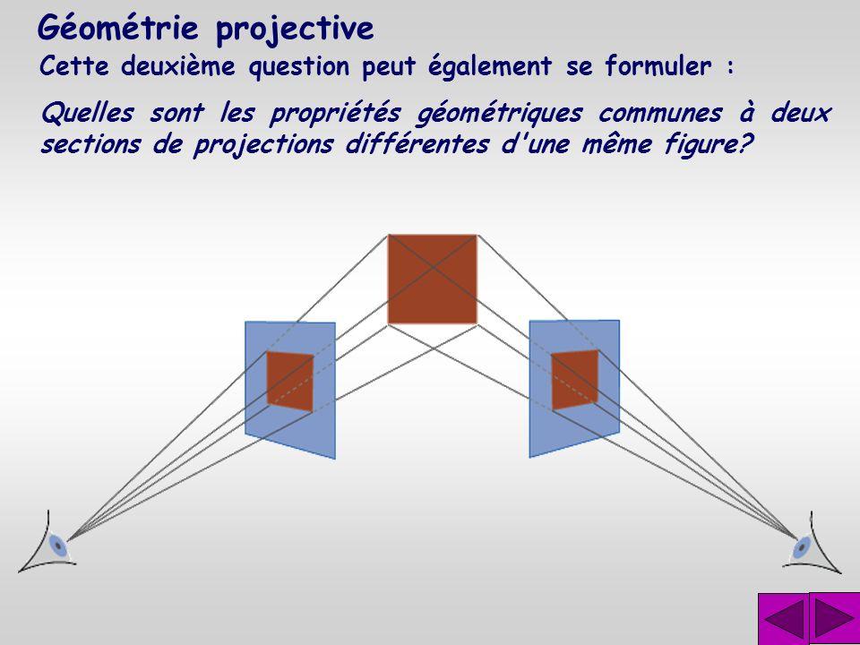 Géométrie projective Cette deuxième question peut également se formuler :