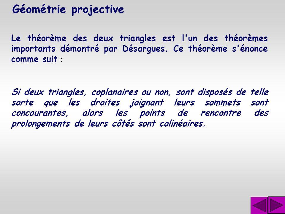 Géométrie projective Le théorème des deux triangles est l un des théorèmes importants démontré par Désargues. Ce théorème s énonce comme suit :