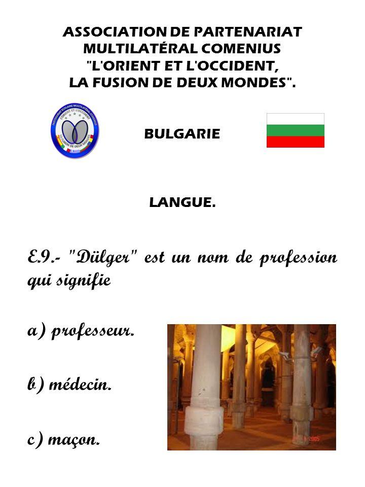 E.9.- Dülger est un nom de profession qui signifie