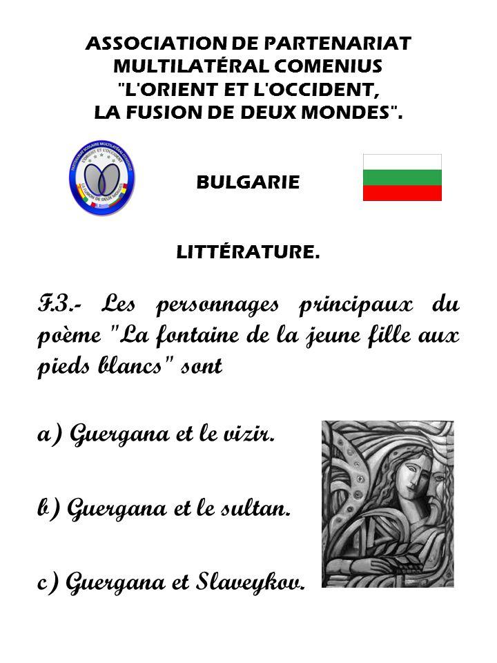 b) Guergana et le sultan. c) Guergana et Slaveykov.