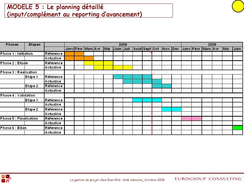 MODELE 5 : Le planning détaillé (input/complément au reporting d'avancement)
