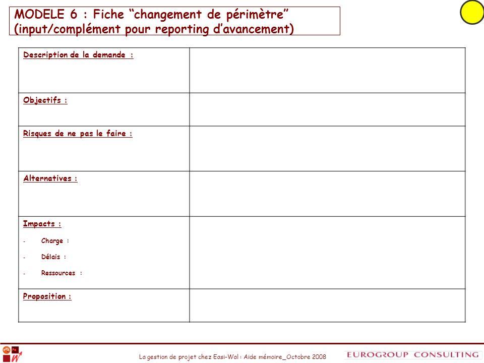 MODELE 6 : Fiche changement de périmètre (input/complément pour reporting d'avancement)
