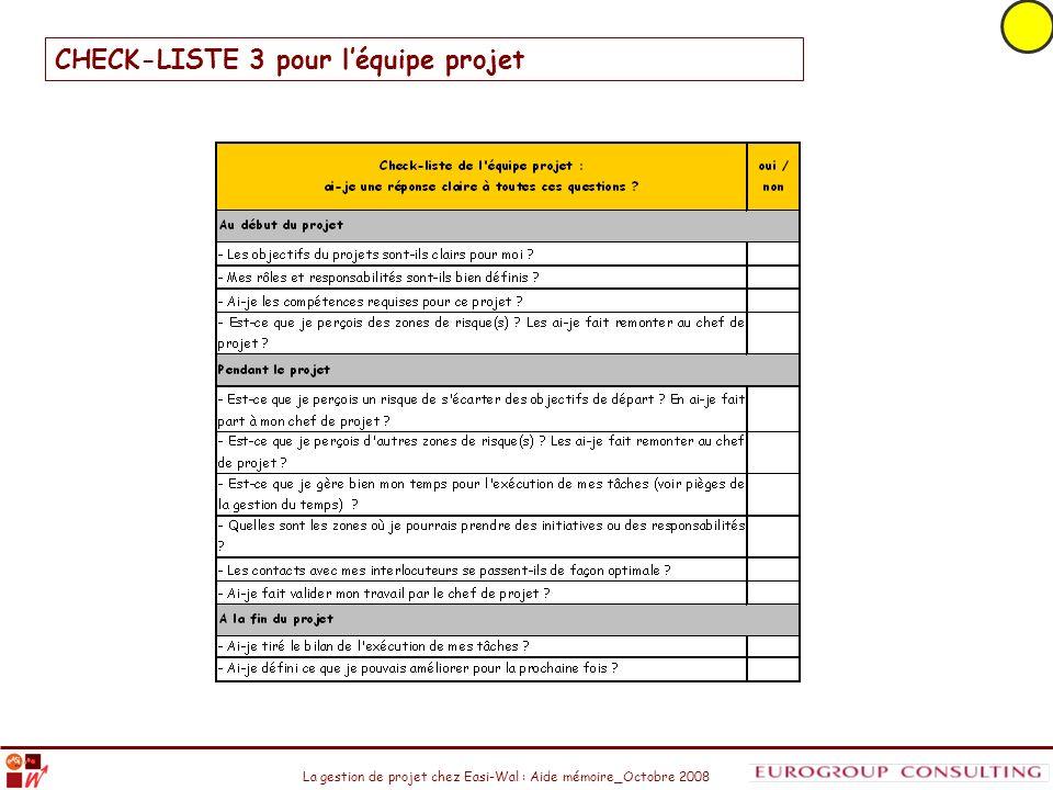 CHECK-LISTE 3 pour l'équipe projet