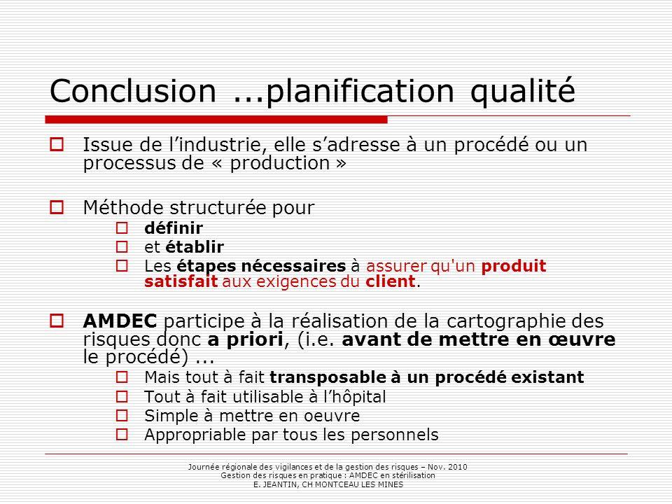 Conclusion ...planification qualité