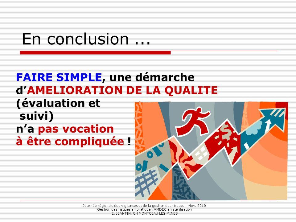 En conclusion ... FAIRE SIMPLE, une démarche d'AMELIORATION DE LA QUALITE (évaluation et suivi) n'a pas vocation à être compliquée !